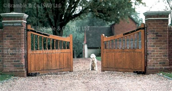 Open wooden gates